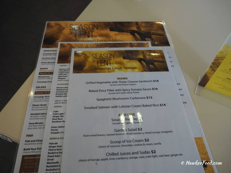 Crossings Cafe Menu
